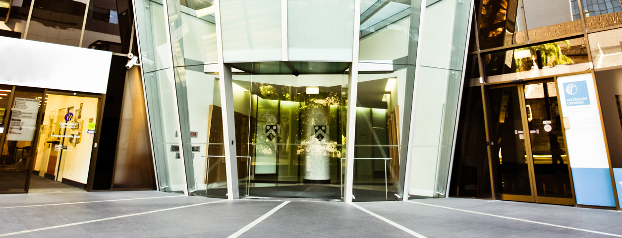 The glass entrance to the Leadership Centre, Brisbane.