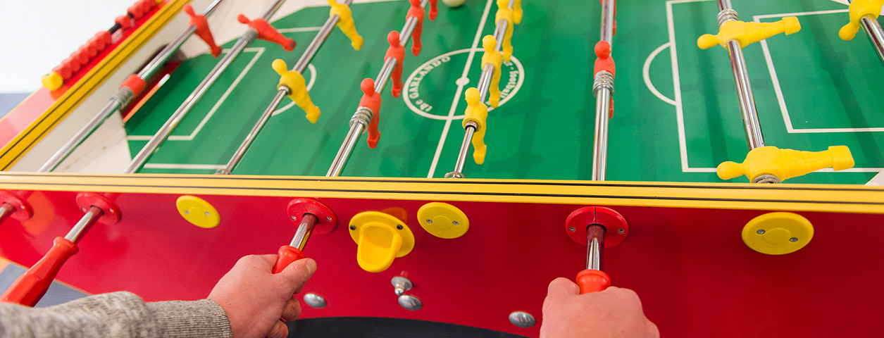 A foosball table