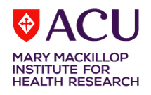 The logo of the ACU Mary MacKillop Institute for Health Research