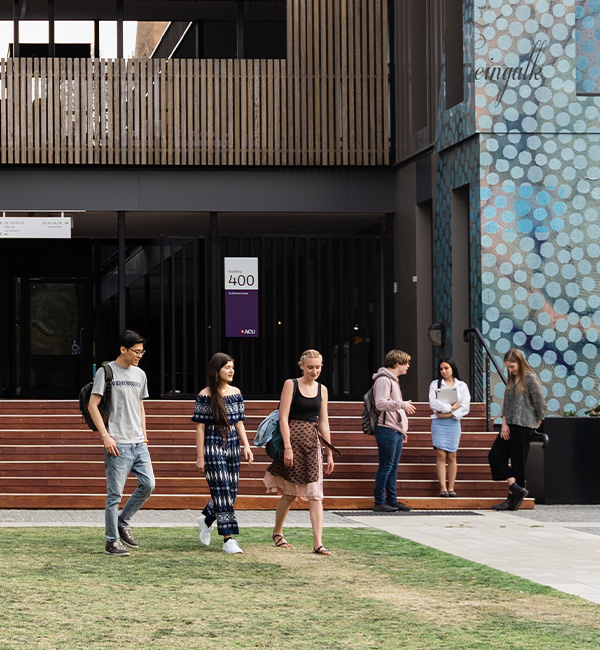 ACU philosophical anthropology students walking through campus