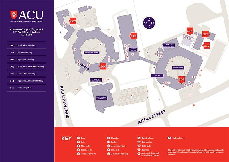 Map Of Australian Universities.Canberra Campus Map Acu