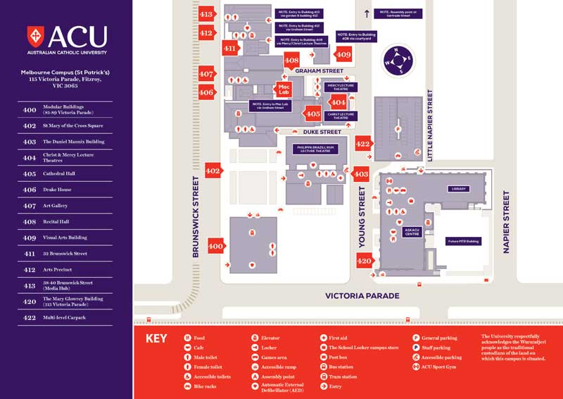 melbourne university parkville campus map Melbourne Campus Map Acu melbourne university parkville campus map