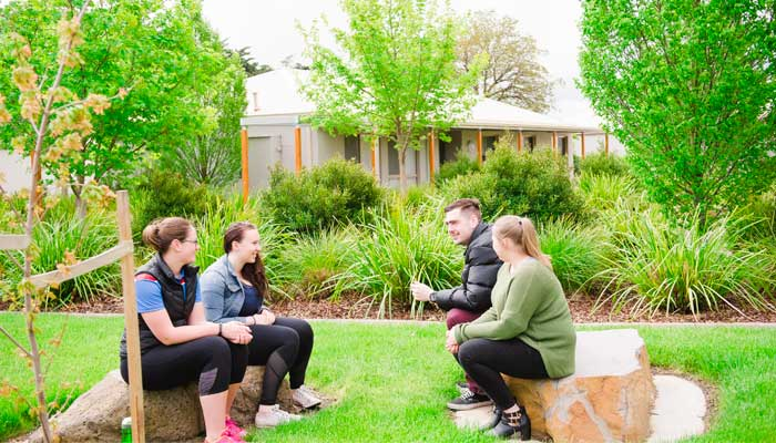 Four young students sit on a green lawn, talking